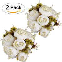 Coolmade Artificial Peony Wedding Flower Bush Bouquet Vintage peony Silk Flowers for Home Kitchen Wreath Wedding Centerpiece Decor (Spring Milk White, 2 Pack)