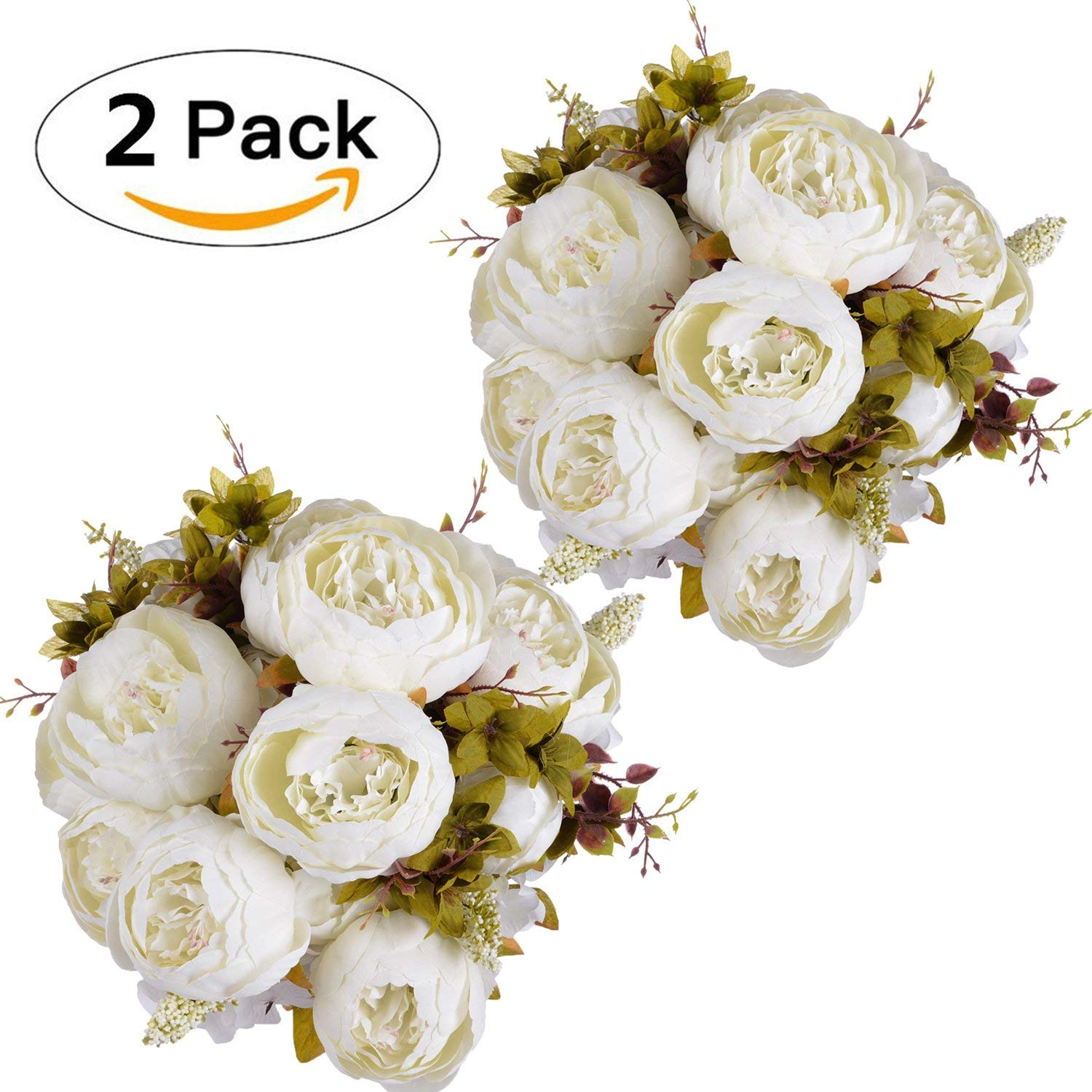 Coolmade Fake Flowers Vintage Artificial Peony Silk Flowers Wedding Home Decoration,Pack of 2 (Light Pink)