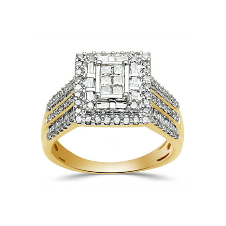1 Carat T.W. Princess, Baguette and Round-Cut Diamond 10kt Yellow Gold Engagement