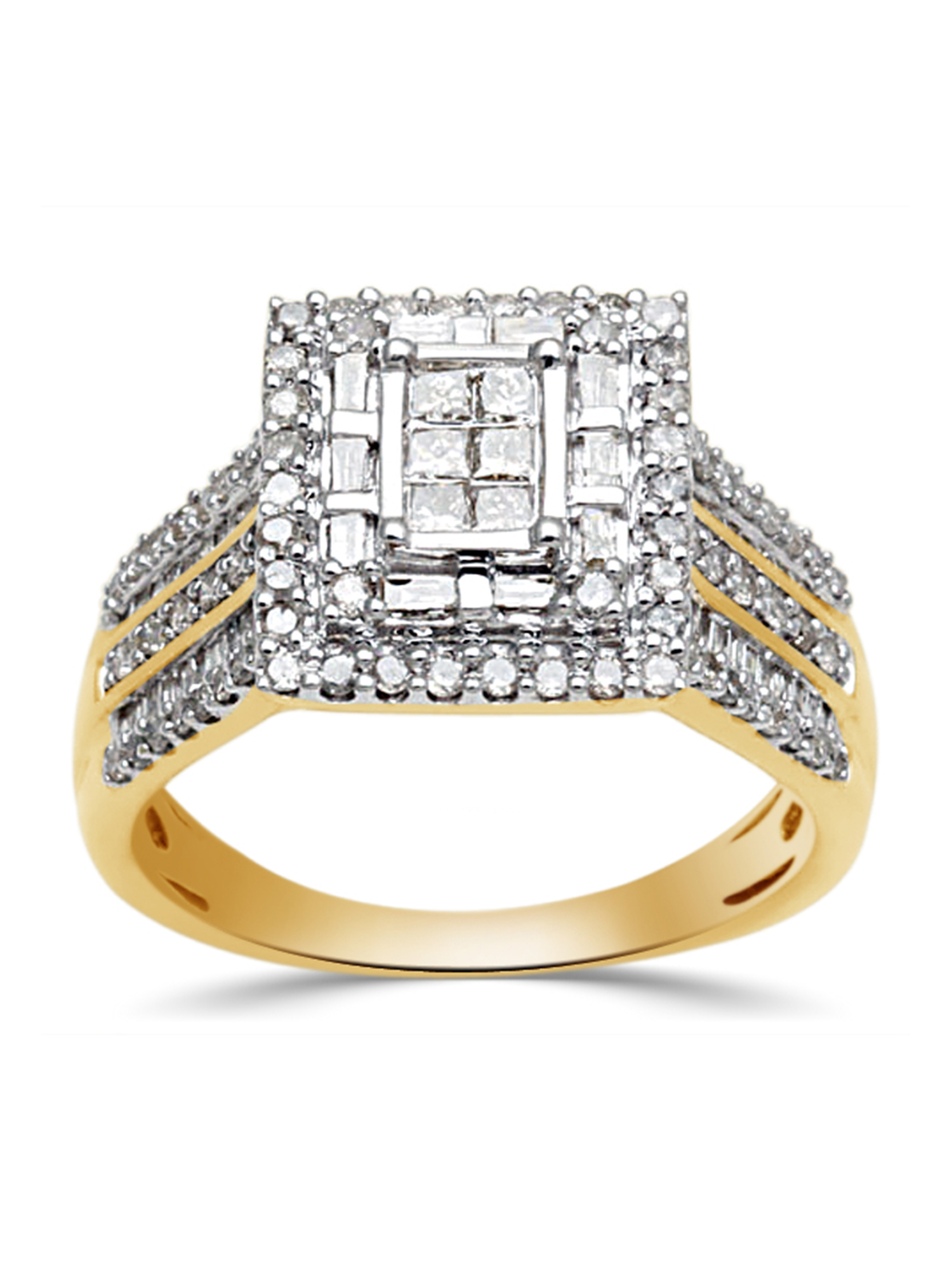 1 Carat T.W. Princess, Baguette and Round-Cut Diamond 10kt Yellow Gold Engagement Ring