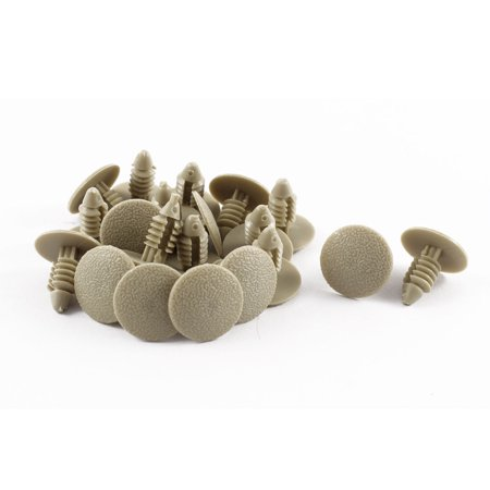 20 Pcs Khaki Plastic Splash Guard Moulding Rivet Clips 7mm x 16mm x 17mm