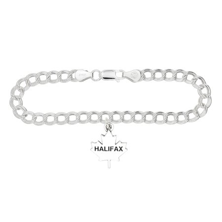 Sterling Silver Oxidized Halifax Travel Charm - Travel Charm Bracelet