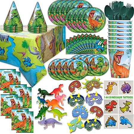 Dinosaur Party Supplies and Favors - 16 Guest - Big and Small Plates, Cups, Napkins, Loot Bags, Table Cover, Cutlery, Loot bags, Masks, Hats, Mini Toy Dinosaurs, Tattoos - Great - Dinosaur Party Games