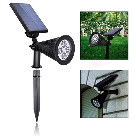 4 LED Solar Powered Lights 200 Lumens Spotlight Adjustable Outdoor Landscape Garden Wall Light Lamp Adjustable Landscape Spotlight