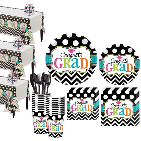 Party City Dream Big Graduation Mega Tableware Kit for 50 Guests, With Décor
