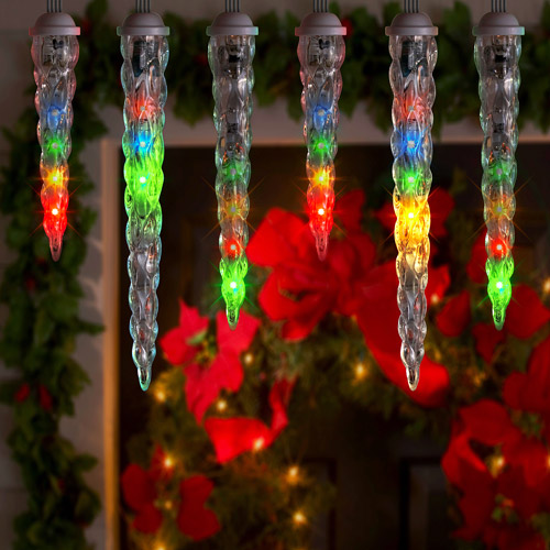 Gemmy Lightshow 10-Count LED Shooting Star Icicle Christmas Lights, Multi-Color, 10.5' Long
