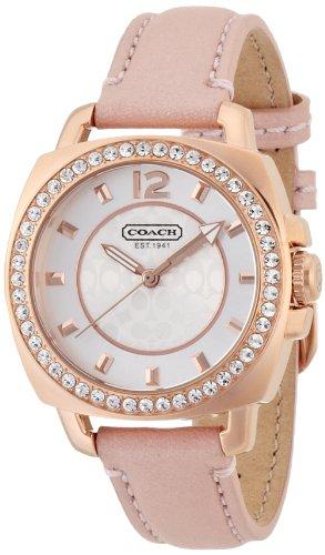 COACH 14501753 MINI BOYFRIEND PINK LEATHER ROSE GOLD CASE WOMEN'S WATCH by Coach