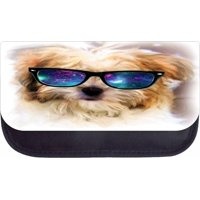 """Yorkie in Galaxy Glasses  - 5"""" x 8.5"""" Black Multi-Purpose Cosmetic Case - with 2 Zippered Pockets and Nylon Lining"""