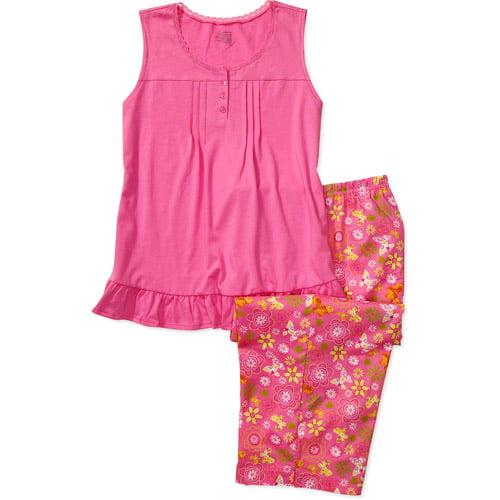 Secret Treasures - Women's Plus Sleeveless Henley and Print Pajama Pants