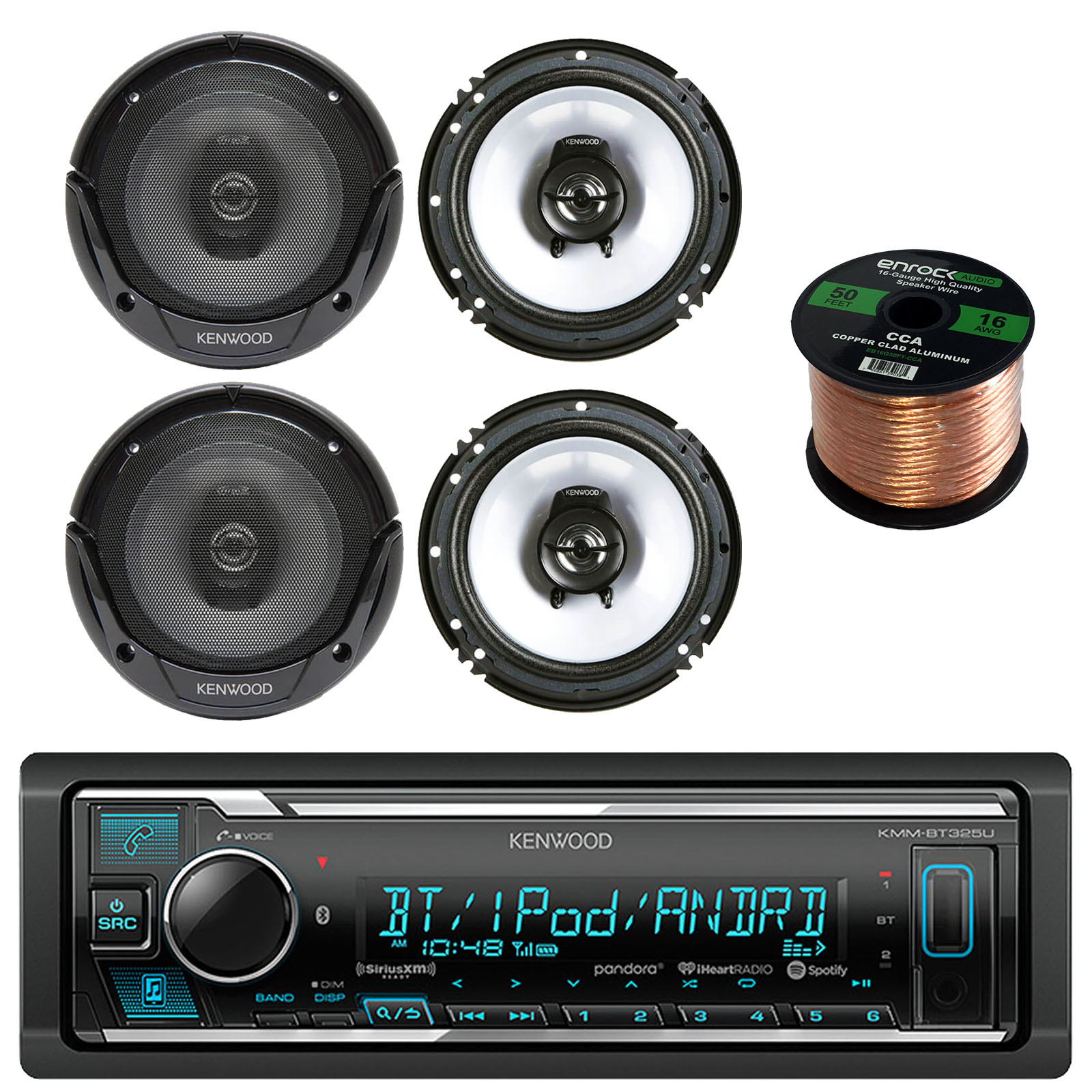"Kenwood KMM-BT325U Single DIN Bluetooth Stereo, Cd Receiver, Am/fm Tuner with 4 x Kenwood KFC-1665S 6.5"" 2-Way Black Car Speakers and 50' 16 Gauge Wire"