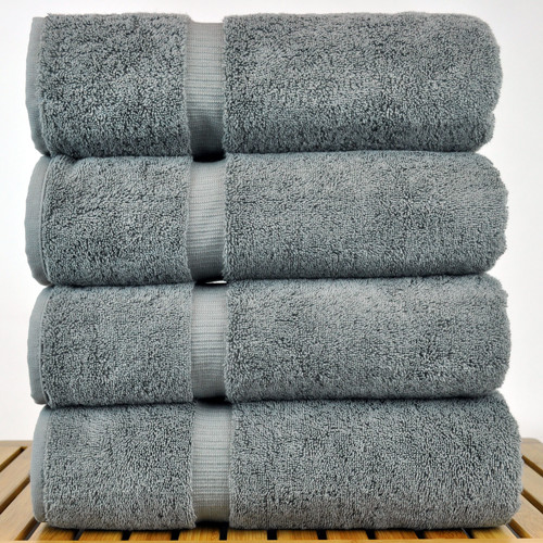 Luxury Hotel & Spa Towel 100% Genuine Turkish Cotton Bath Towels - Navy Blue - Dobby Border  - Set Of 4