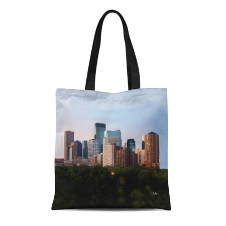 ASHLEIGH Canvas Tote Bag Minneasota Minneapolis Mn Skyline Reusable Handbag Shoulder Grocery Shopping