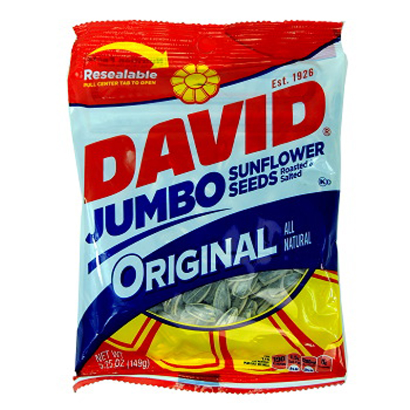 DAVID SUNFLOWER SEEDS JUMBO - Bag 5.25 oz Each (12 in a Pack)