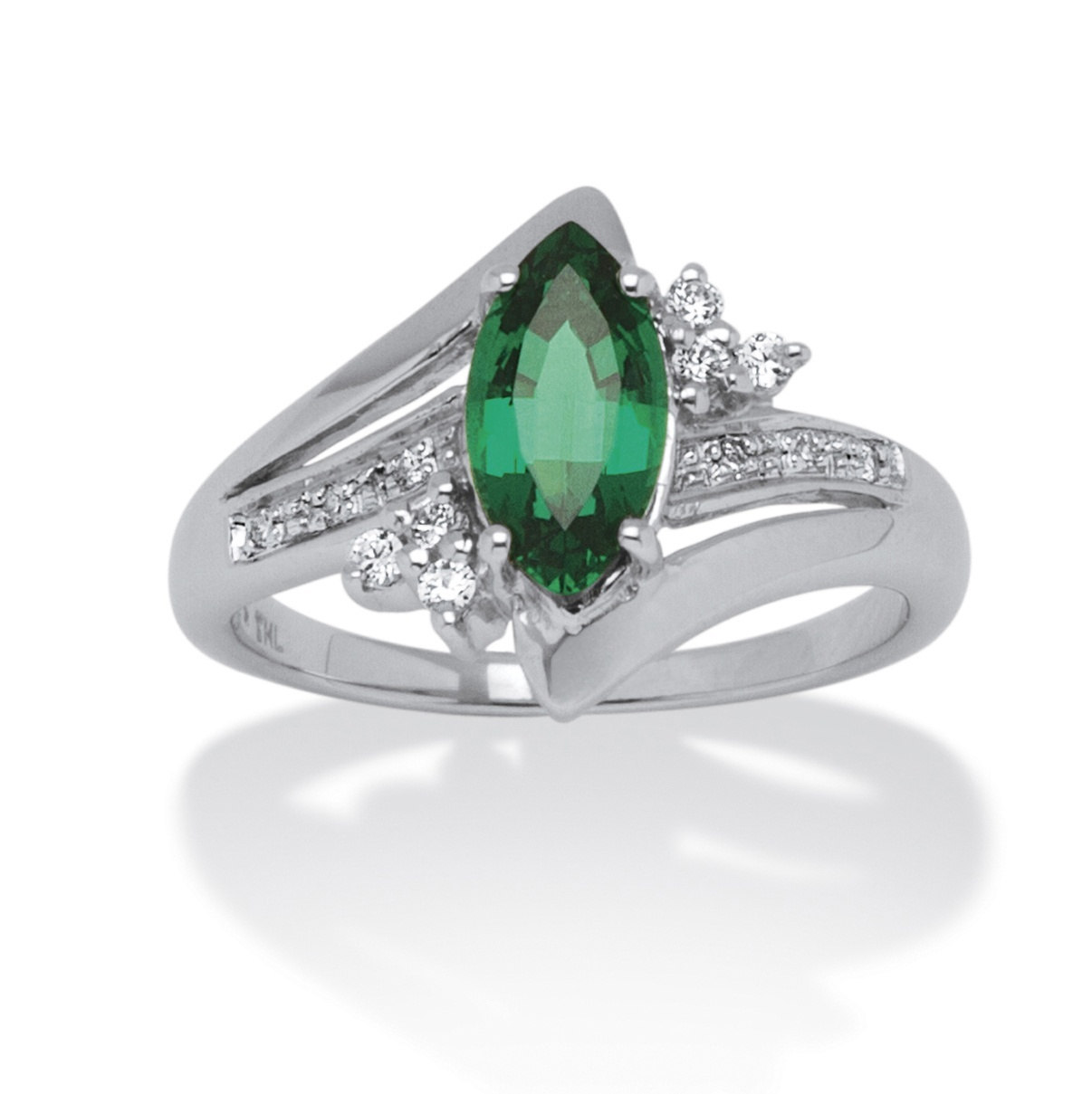 1.52 TCW Marquise-Cut Emerald Ring in Platinum over Sterling Silver by PalmBeach Jewelry