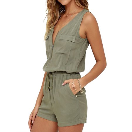 Womens Jumpsuits Sleeveless Zip Up Solid Color Short - Zip Jumpsuit