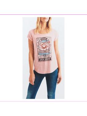 Lucky Brand Women's cap sleeves Lightweight Loose fit Graphic Shirt XL/Peach