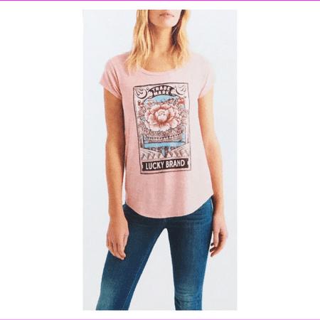 Lucky Brand Women's cap sleeves Lightweight Loose fit Graphic Shirt XL/Peach Runners Lose Weight