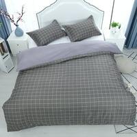 3pcs Duvet Cover Bedding Set(1 Duvet Cover+2 Pillow Shams) King, Grey Grid