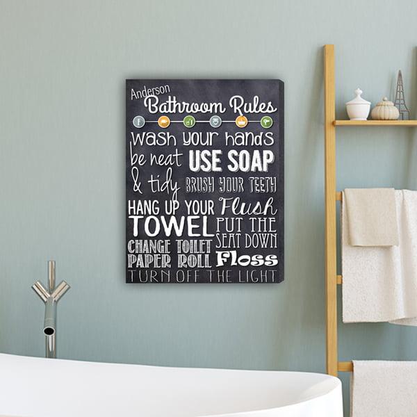 Bathroom Rules Personalized Canvas Print Walmart Com Walmart Com