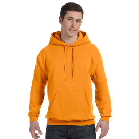 Hanes Mens Fleece Full Cut Athletic Hooded Pullover, Safety Orange, 3X, Style, P170