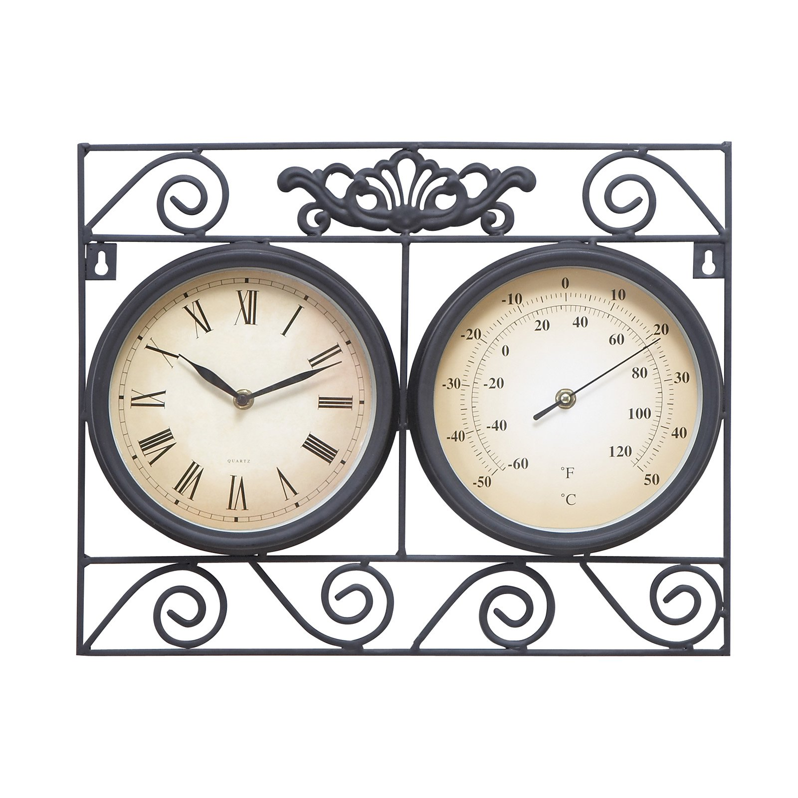 DecMode Square Metal Outdoor Wall Clock and Thermometer