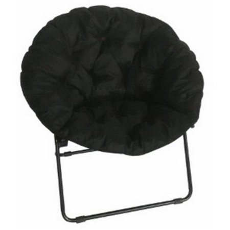 Big Round Chair (Padded Micro Fiber & Upholstered Round Dish Chair, Black )