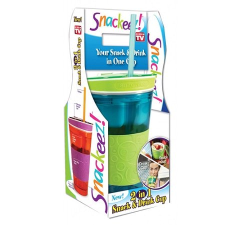 Snackeez Travel Cup Snack Drink in One Container 16oz (Green/blue)](Halloween Snack And Drink Ideas)