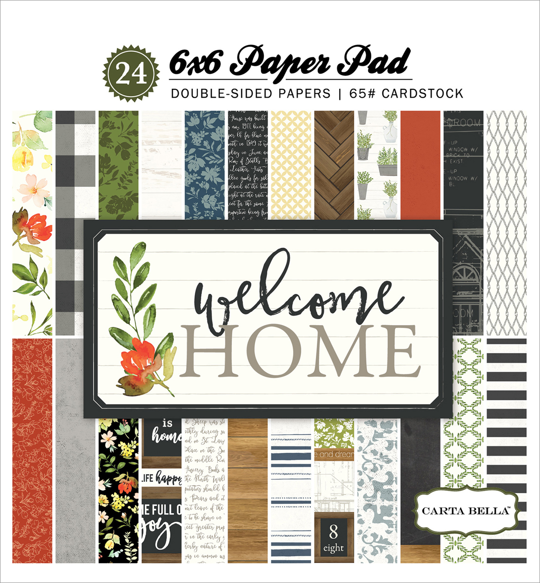 "Carta Bella Double-Sided Paper Pad 6""X6"" 24/Pkg-Welcome Home, 12 Designs/2 Each"