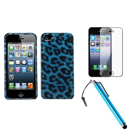 Insten Leopard Skin Cyan (2D Silver) Case For iPhone 5 / 5s + Stylus + LCD Guard
