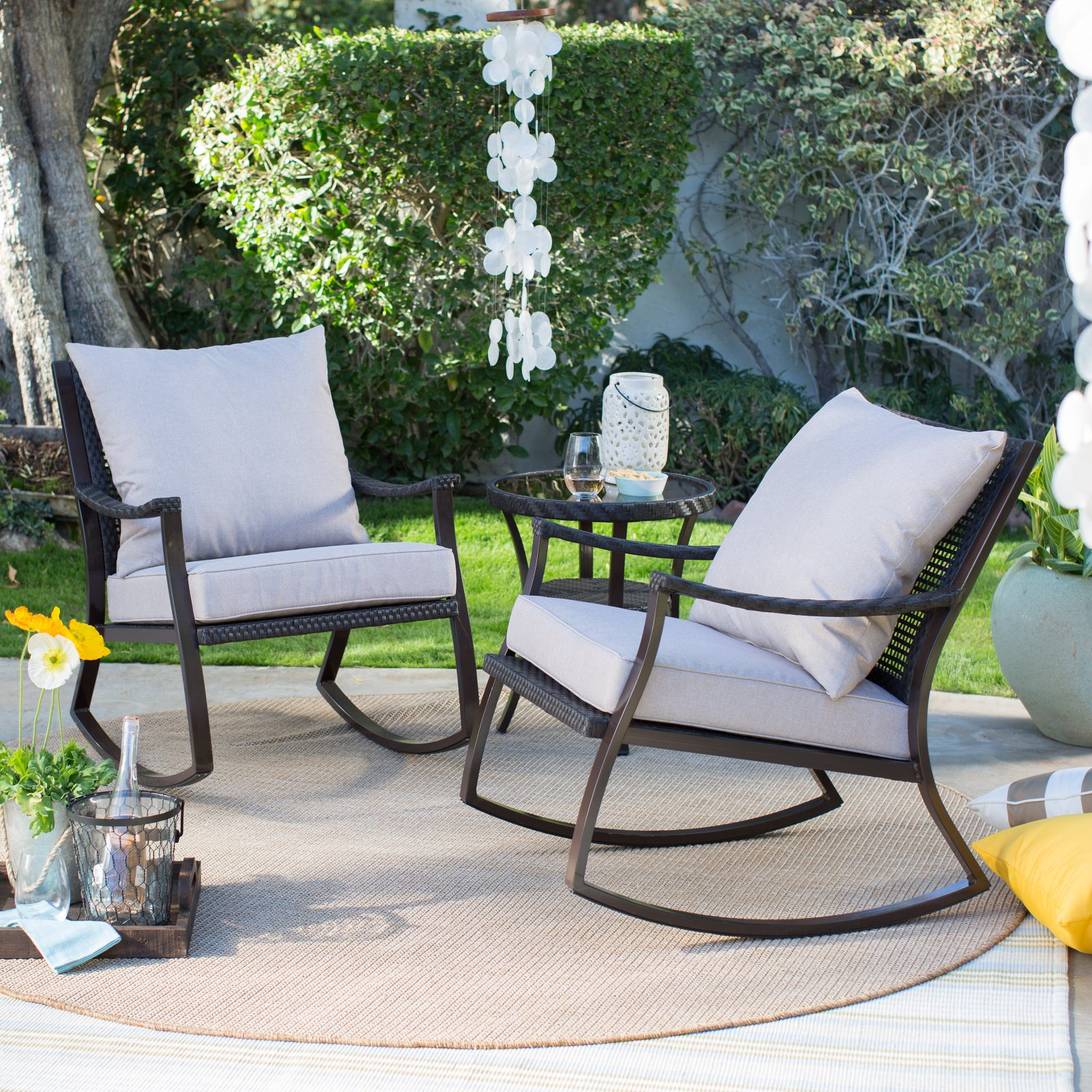 Coral Coast Losani All Weather Wicker Outdoor Rocking Chair Set With Side  Table