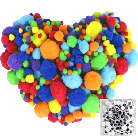 Pom Poms 770pcs 5 Sizes Multicolor with 100pcs Wiggle Googly Eyes for Creative Crafts DIY Decorations - Googly Eyes Halloween Face