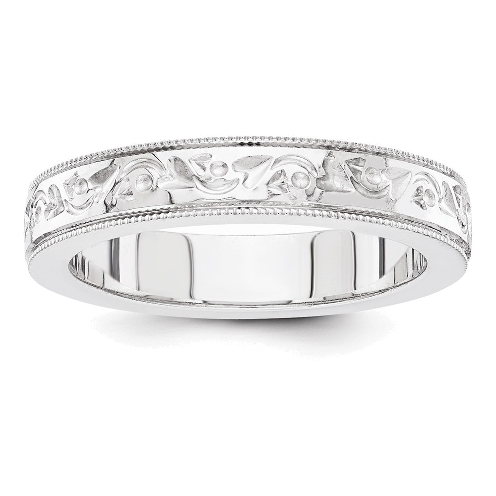 14k white gold fancy wedding band Size 5.5