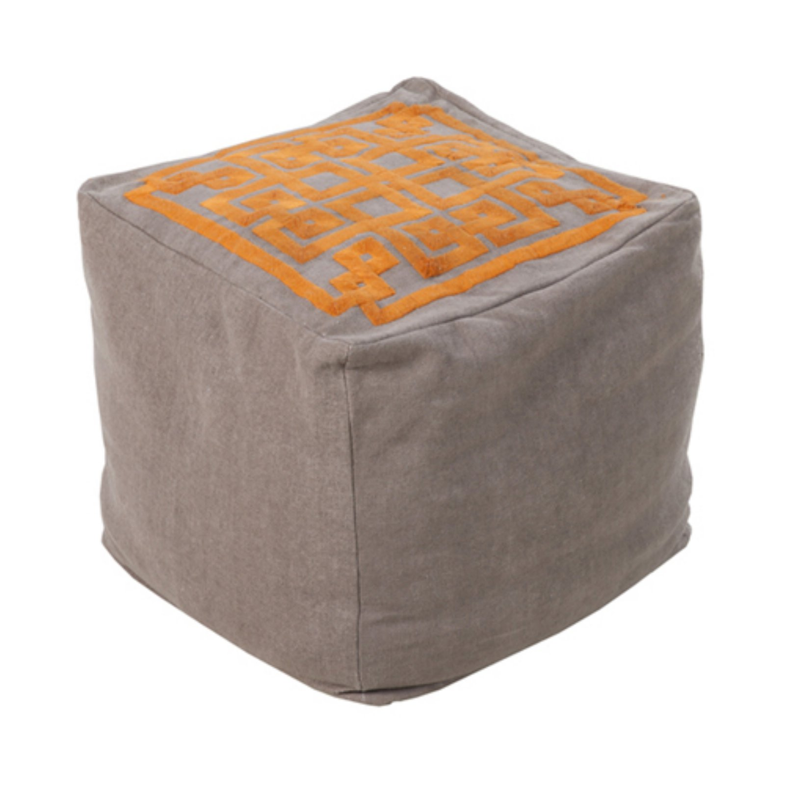 Surya 18 in. Cube Linen Greek Key Pouf by Surya