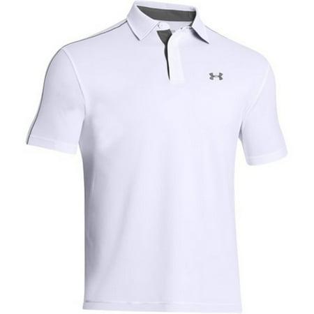 Under armour 1249072 men 39 s white tech short sleeve polo for Under armour men s tech polo short sleeve shirt