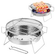 Outdoor Stainless Steel Grill Portable Barbecue Grid Folding BBQ Grill Mini Round Charcoal Grill Outdoor Camping Picnic Tool For Home Park Use L