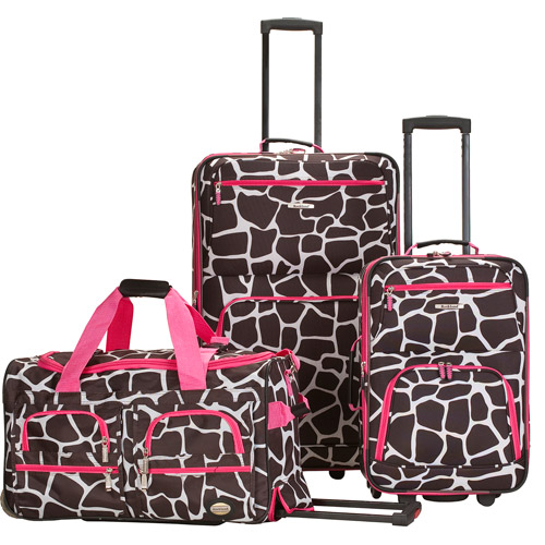 Rockland Luggage Spectra 3-Piece Rolling Luggage Set, Pink Giraffe