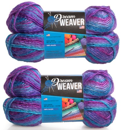 Dream Weaver 4 Pack Variegated Thick & Thin 100% Acrylic Soft Yarn for Knitting Crocheting DK Light #3 - Dream Weavers