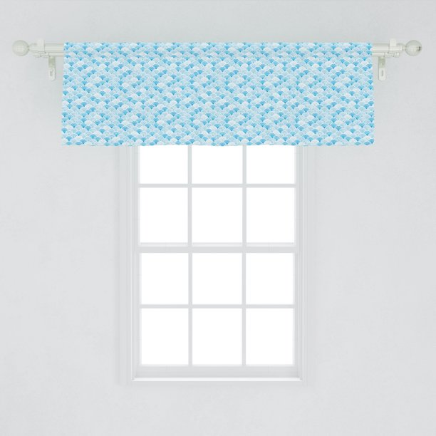 Watercolor Window Valance Ocean Waves Inspired Curves In Aquatic Colors Circles Geometric Pattern Curtain Valance For Kitchen Bedroom Decor With Rod Pocket By Ambesonne Walmart Com Walmart Com