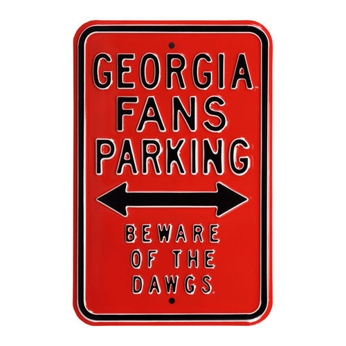 "Red Georgia Bulldogs 12"" x 18"" College Parking Sign"