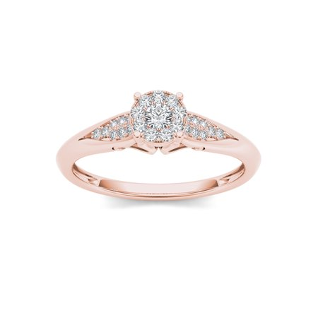 1/6Ct TDW Diamond 10K Rose Gold Cluster Ring Engagement Ring ()