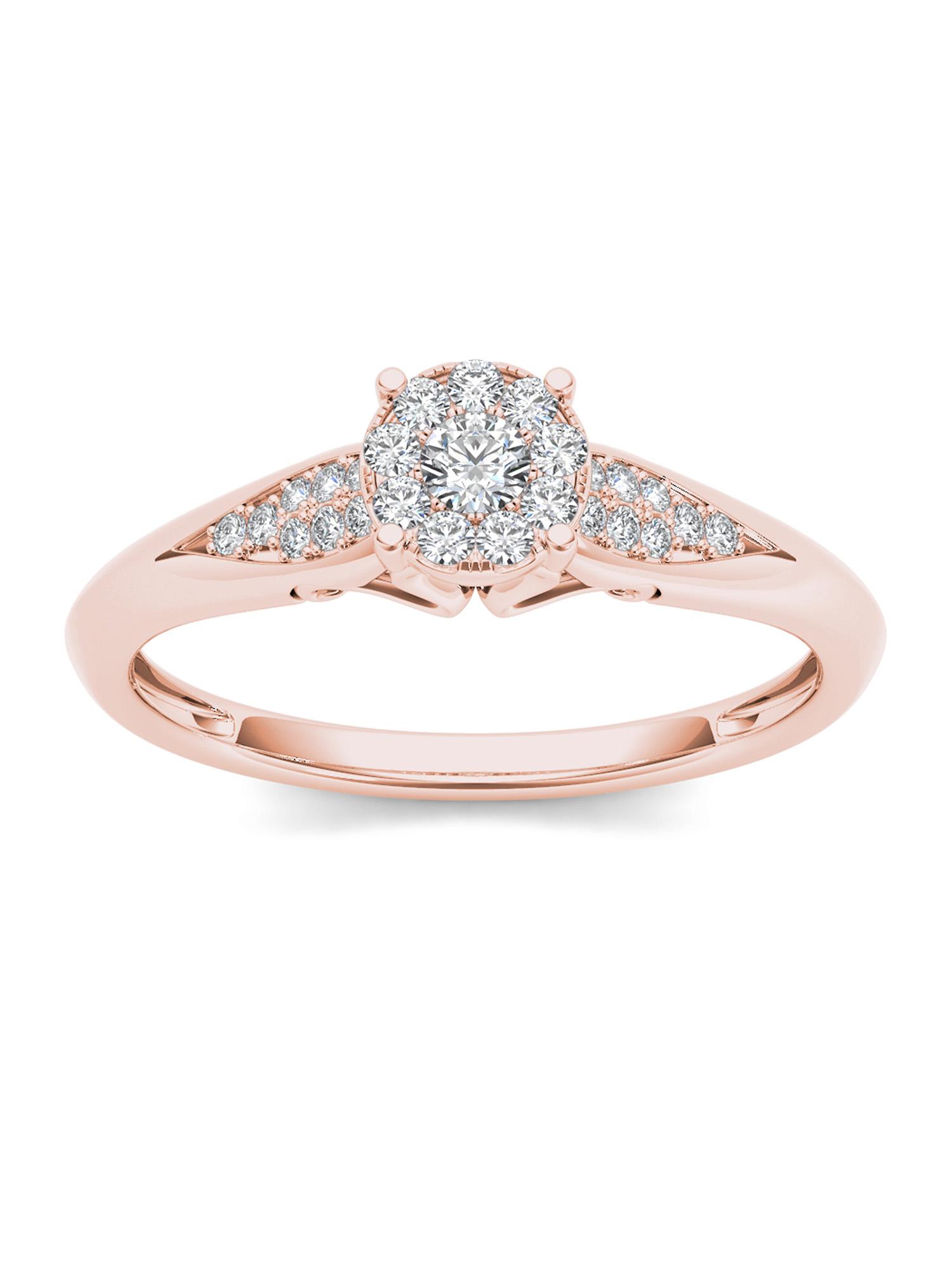1/6Ct TDW Diamond 10K Rose Gold Cluster Ring Engagement Ring