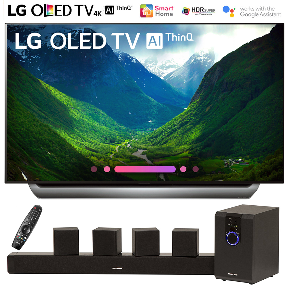 """LG OLED55C8PUA 55""""-Class C8 OLED 4K HDR AI Smart TV (2018 Model) with Sharper Image 5.1 Home Theater System w/ Subwoofer, Sound Bar & Satellite Speakers"""