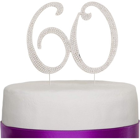 Teletubbies Birthday Party Ideas (60 Cake Topper for 60th Birthday or Anniversary Silver Party Supplies Decoration)