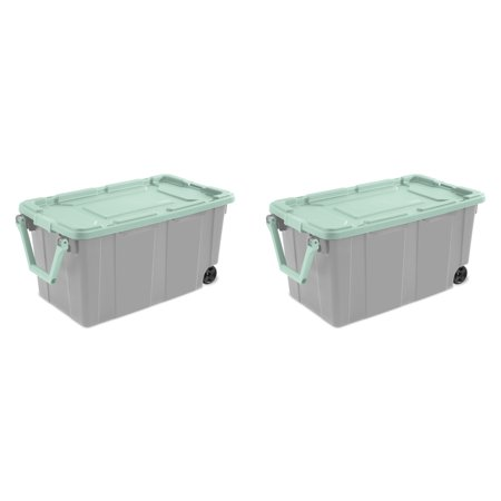 16 Wheeled Tote (Sterilite, 40 Gal./151 L Wheeled Industrial Tote, Classic Mint, Case of 2 )