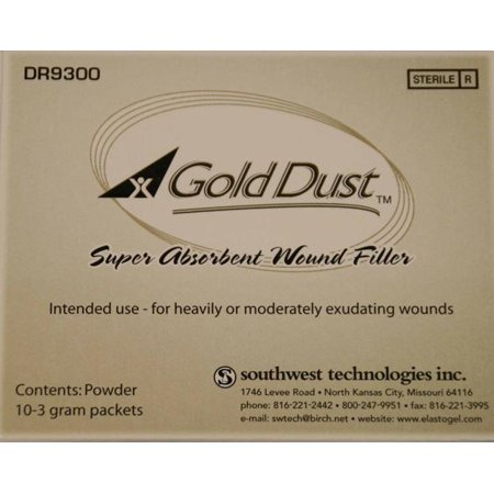 Gold Dust Wound Filler  High Absorbent Hydrophilic Polymer 3G Box Of 10