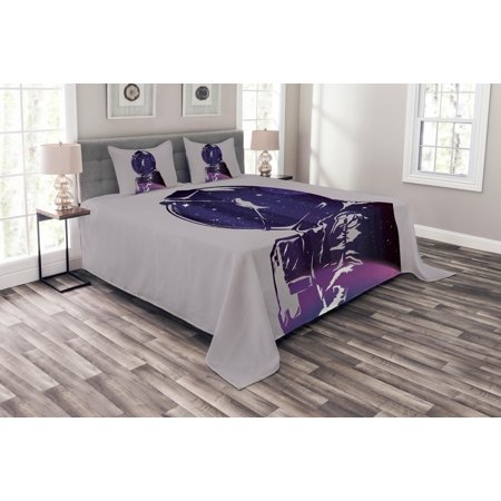 Outer Space Bedspread Set, Exposure of Cosmonaut Star Clusters Celestial Cosmic Body Side Graphic Design, Decorative Quilted Coverlet Set with Pillow Shams Included, Pink Purple, by - Cluster Design