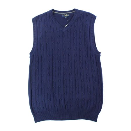 Club Room New Blue Navy Mens Size Small S Vest Cable Knit Sweater