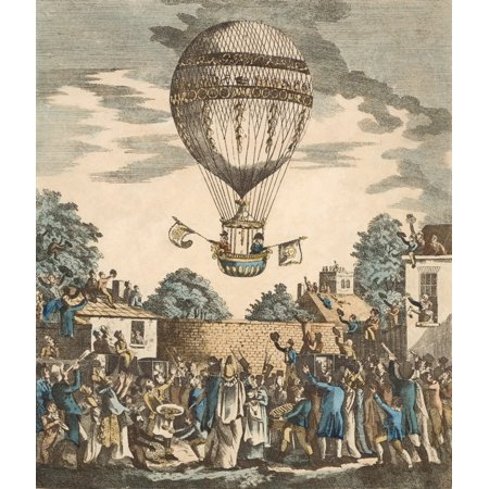 Posterazzi James Sadler And Captain Paget RN Ascending In A Balloon From Mermaid Tavern Gardens Hackney London August 1811 Canvas Art - Ken Welsh Design Pics (26 x 32)