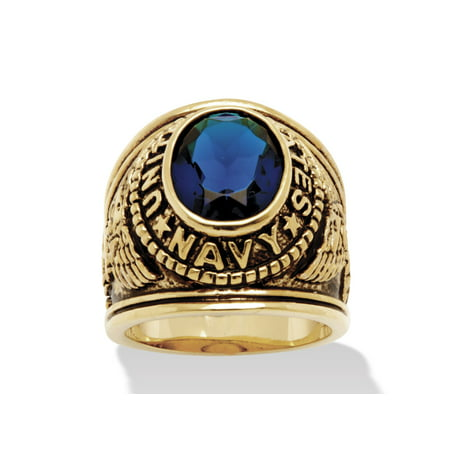 Men's Oval-Cut Simulated Blue Sapphire United States Navy Ring 6 TCW in Antiqued 14k Gold-Plated ()