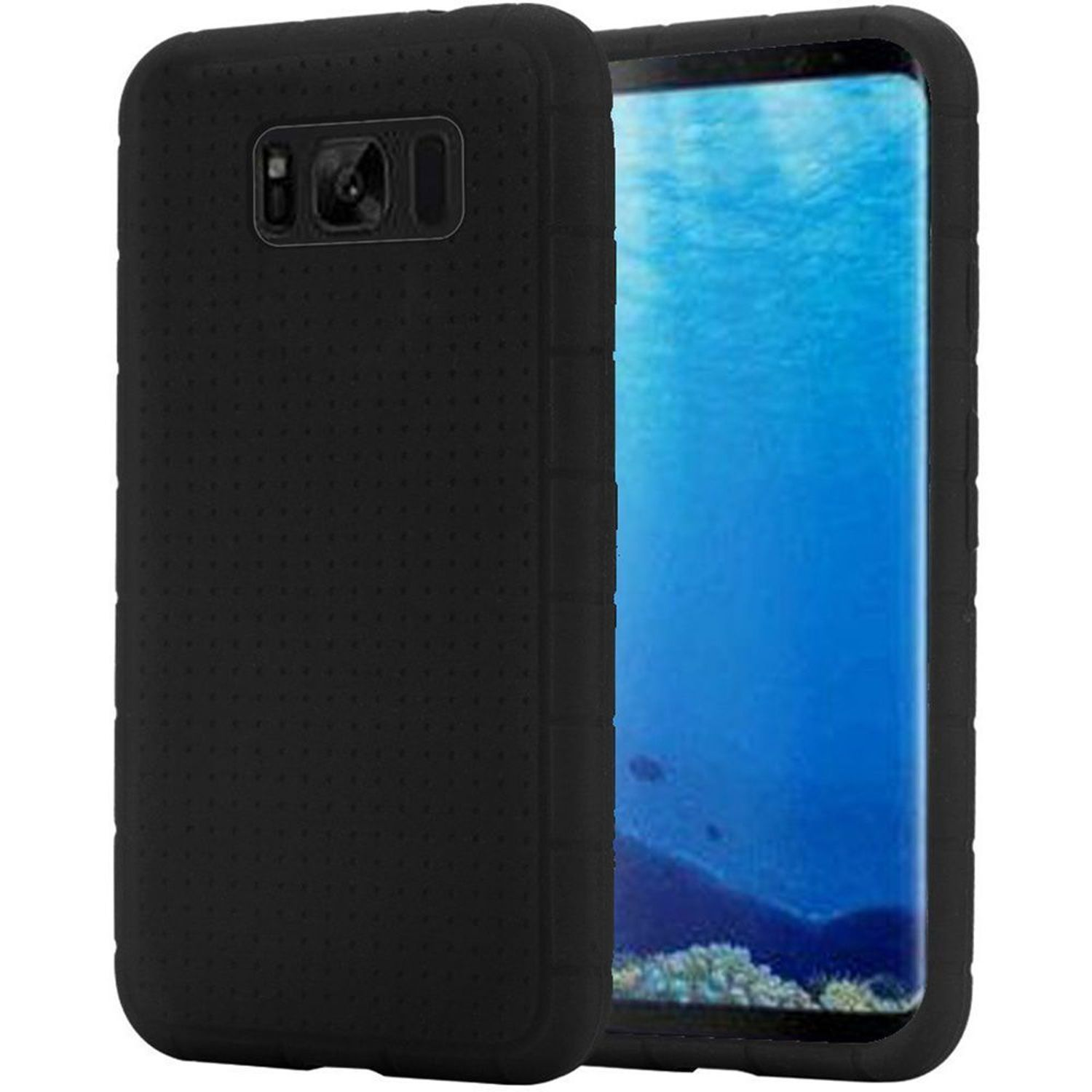 Insten Rugged Rubber Silicone Soft Skin Gel Case Phone Cover For Samsung Galaxy S8, Black